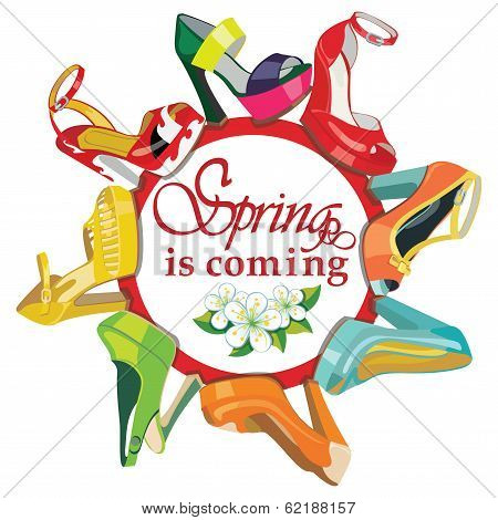 Colorful Fashion Women's High Heel Shoes.fashion Spring Poster