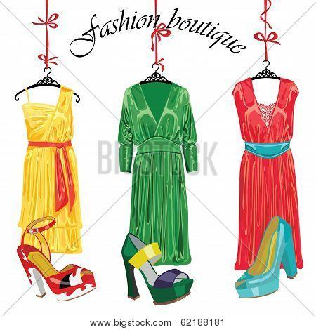 Three  Silk Dresses And Shoeses.fashion Boutique