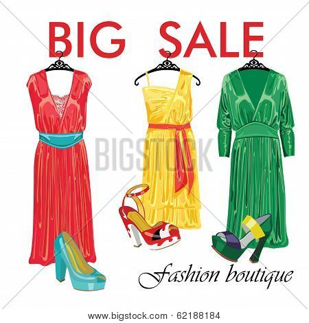 Three Silk Dresses And Open Shoes.fashion Boutique Sale