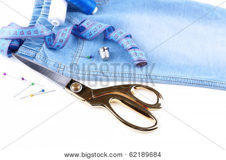 Business suit tailoring, isolated on white