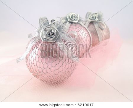 Three Pink With Silver Sphere For Christmas Tree  Abreast And Grid