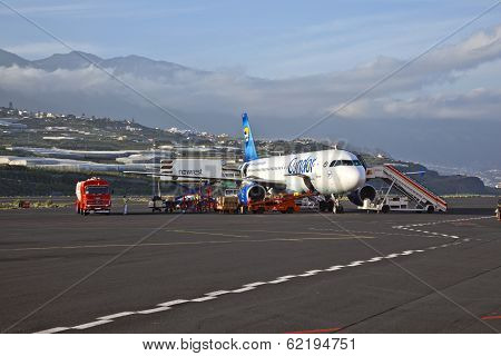 GRAN CANARIA SPAIN - JANUARY 4: the condor aircraft has stopover at the airport of Gran Canaria on Januar 4 2010 in Gran Canaria Spain. Nearly 2 Million passenger use the airport yearly.