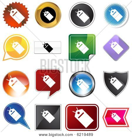 hang tag variety icon set