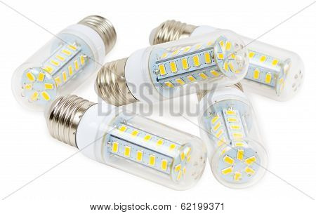 Led Bulbs On A White Background