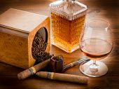 stock photo of tobacco-pipe  - pipe tobacco cuban cigar and liquor - JPG