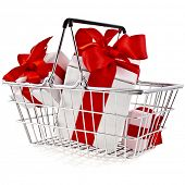 stock photo of movable  - Shopping hand basket with gift boxes  - JPG
