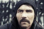 picture of hobo  - Portrait of homeless man in depression - JPG