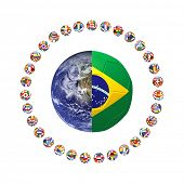 3D render of group of footballs around the earth and Brazilan flag on white background, representing