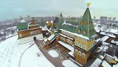 stock photo of winter palace  - Palace in Kolomenskoye was built in XVII century at winter day in Moscow - JPG
