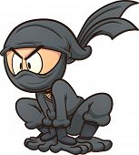 stock photo of ninja  - Crouching cartoon ninja - JPG