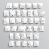 Vector Crumpled Paper Alphabet Set