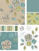 foto of fill  - Spring Inspired Seamless Floral Patterns and Icons - JPG