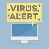 minimalistic illustration of a monitor with a virus alert speech bubble, eps10 vector