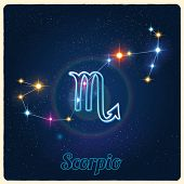 stock photo of scorpio  - Vector constellation Scorpio with Zodiac sign - JPG