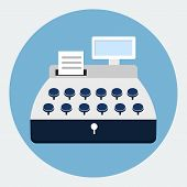 stock photo of cash register  - Cash register flat icon  - JPG