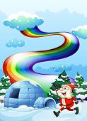 stock photo of igloo  - Illustration of a happy Santa walking near the igloo under the rainbow - JPG