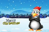 Illustration of a christmas template with a penguin