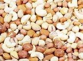foto of mixed nut  - Nuts mixed for backgrounds or textures - JPG