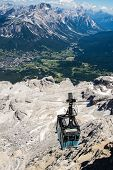 image of ascending  - Cable car ascending from the valley Tofane Cortina d