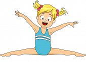 foto of do splits  - Illustration of a Young Female Gymnast Doing a Split Jump - JPG