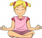 Illustration of a Little Girl Meditating While Sitting Cross Legged