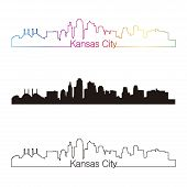 foto of kansas  - Kansas City skyline linear style with rainbow in editable vector file - JPG