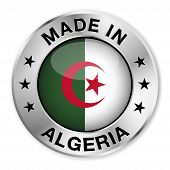 image of algiers  - Made in Algeria silver badge and icon with central glossy Algerian flag symbol and stars - JPG