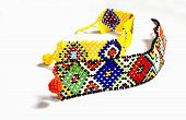 stock photo of zulu  - two zulu beaded bracelets in bright colors