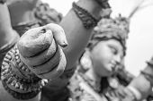 stock photo of durga  - goddess durga hand full of power sculptures - JPG