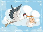 stock photo of baby delivery  - Vector cartoon of a cute stork carrying a baby to its destination - JPG