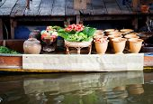 picture of chan  - Fresh ingredients in a boat at Taling Chan floating market - JPG