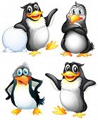 picture of webbed feet white  - Illustration of the four playful penguins on a white background - JPG