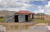 stock photo of shacks  - Tin shack shop in Lesotho - JPG