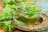 stock photo of mint leaf  - Rosemary Mint Tea with fresh rosemary and mint leaves - JPG