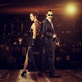 foto of sniper  - Fashion photo of young beautiful couple  - JPG