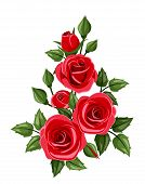 stock photo of decoupage  - Vector branch with red roses - JPG