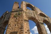 stock photo of aqueduct  - This is ancient ruins of aqueduct. Aspendos or Aspendus was an ancient Greco-Roman city in Antalya province of Turkey.