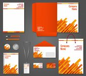foto of letterhead  - Red and orange geometric technology business stationery template for corporate identity and branding set vector illustration - JPG