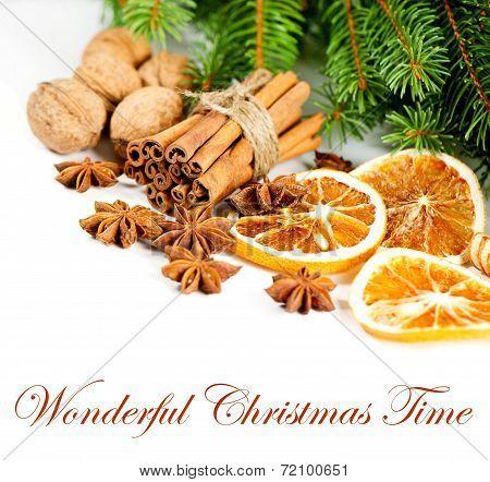 Cinnamon Sticks Star Anise And Pine Brunch. Christmas Decoration