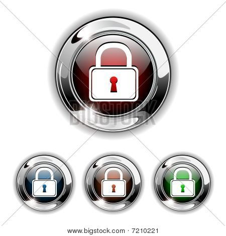 Padlock icon, button, vector illustration.