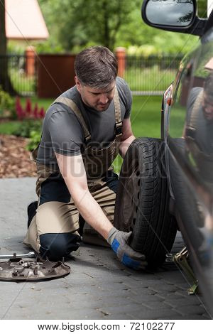 Man Changing Car Wheel