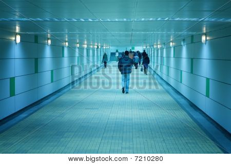 Subway Corridor And People Walking