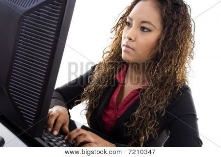 Young Businesswoman Typing