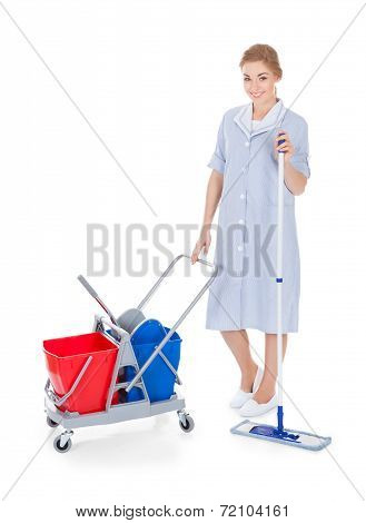 Female Maid Cleaning Floor
