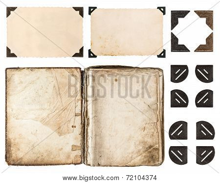 Aged Book, Photo Album, Vintage Paper Card, Photo Corner