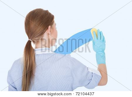 Female Maid Cleaning Glass