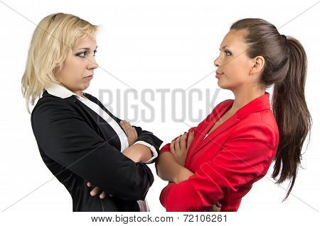 Two businesswoman looking at each other