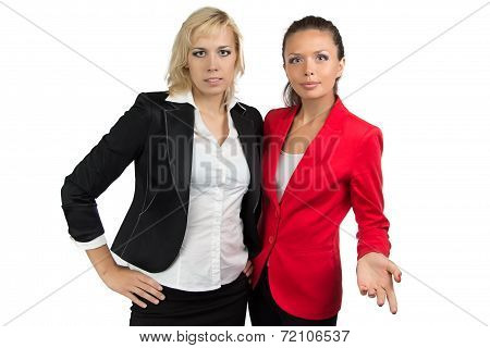 Two business lady looking at camera