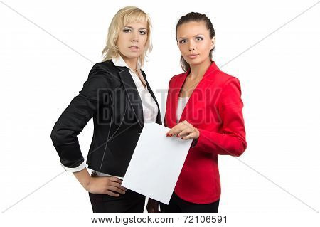Two businesswoman and sheet of paper