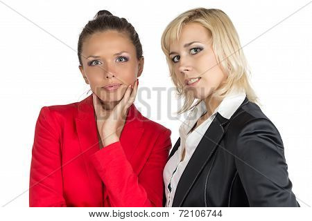 Two smiling businesswoman looking at camera
